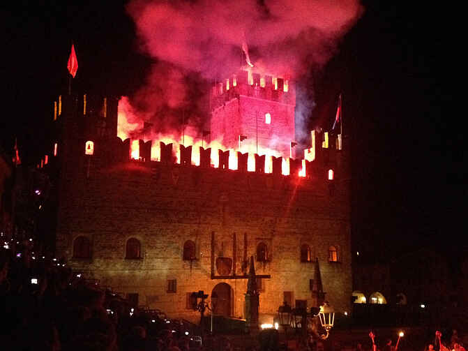 castello with fireworks